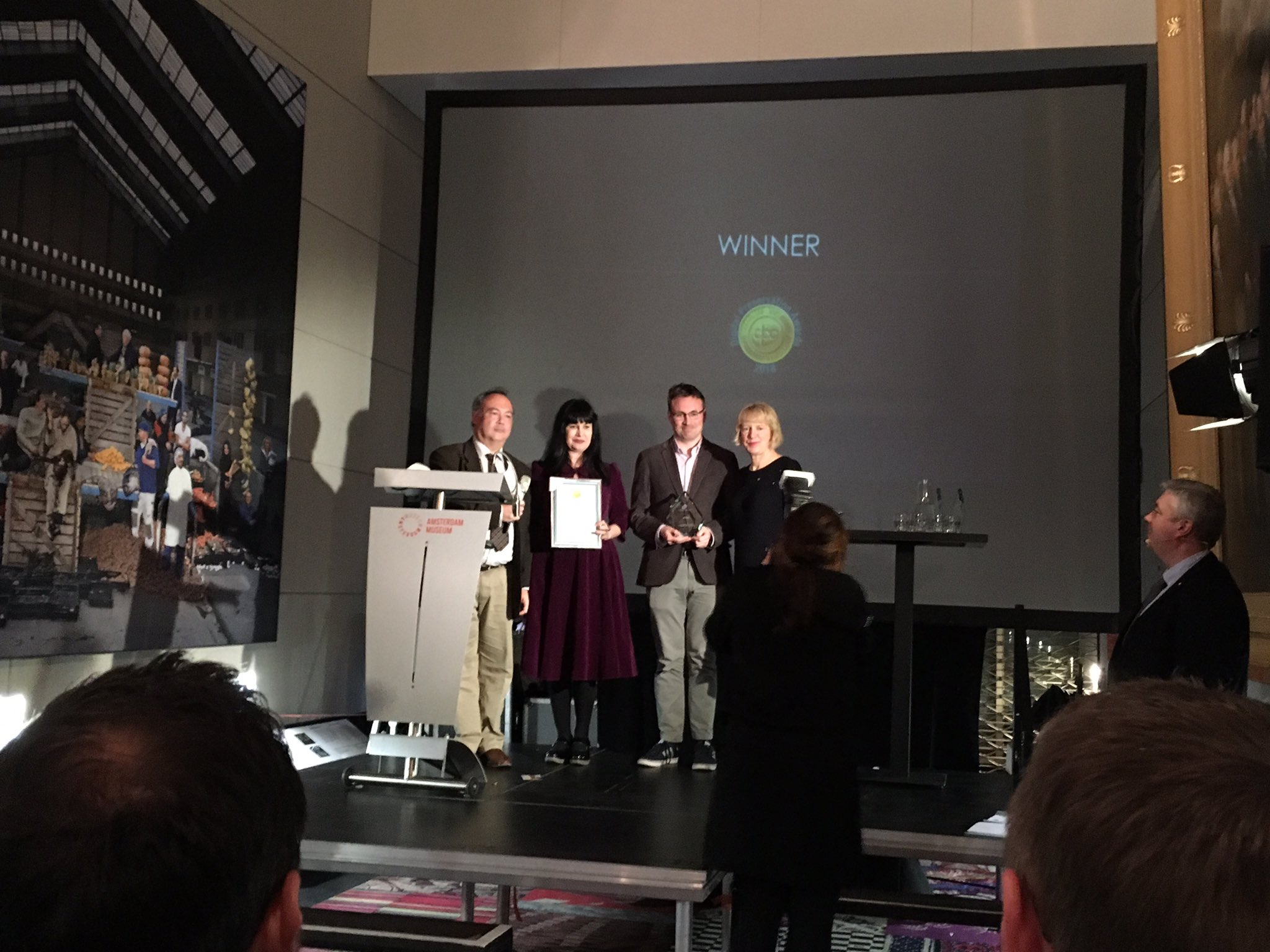 Head of the IFI Irish Film Archive, Kasandra O'Connell accepts The Award for Safeguarding the Digital Legacy at the Digital Preservation Awards 2018