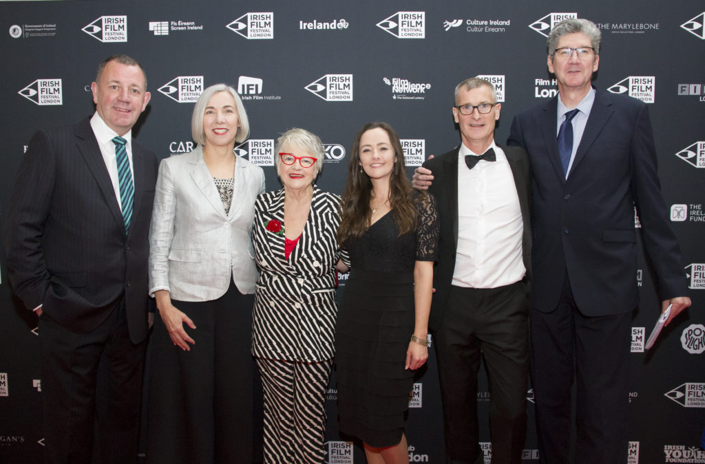 Festival founder and director Kelly O'Connor and patron Ros Hubbard flanked at the Irish Film Festival London Awards 2019