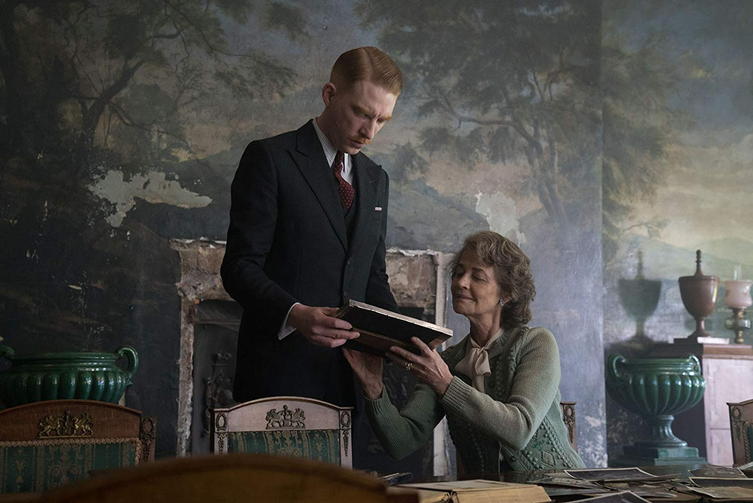 "Domnall Gleeson stars as ""Dr. Faraday"" with Charlotte Rampling as ""Mrs. Ayres"" in director Lenny Abrahamson's THE LITTLE STRANGER, a Focus Features release. Credit: Nicola Dove / Focus Features"