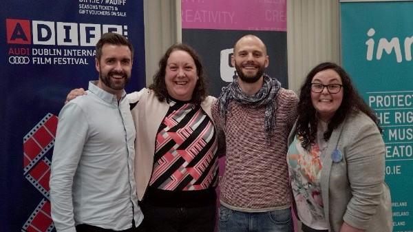 Richard Molloy of Audi Ireland with the bursary-winning team from Pink Kong Studios Aoife Doyle, Denis James Ryan and Niamh Herrity.