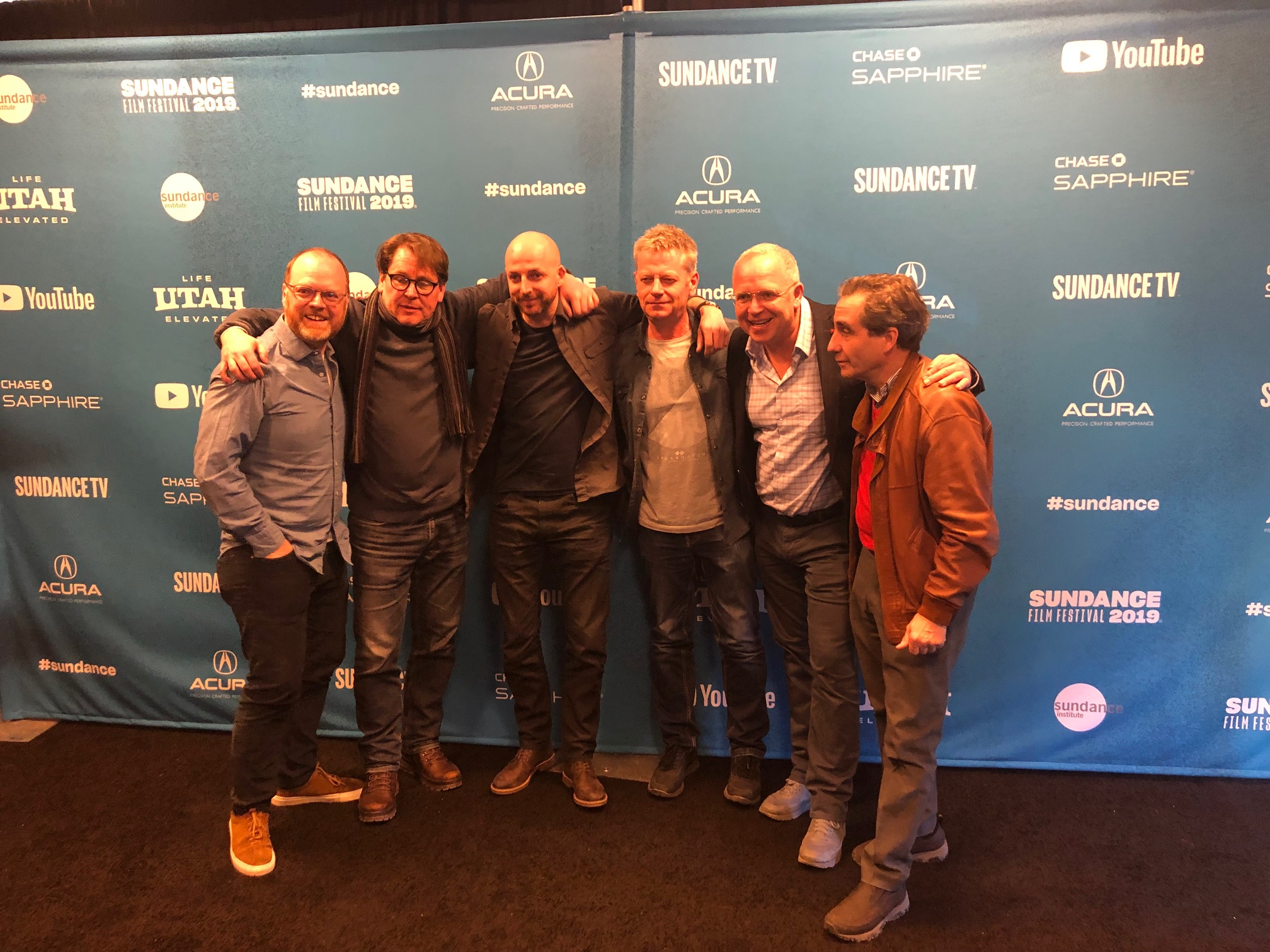 The team behind new film Gaza at Sundance Film Festival on Tuesday evening.
