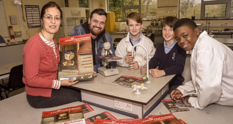 Exploring the Science of Cinema at The Bish this week, students helped the JFF launch this year's programme. (L-R) Annette Maye, Gar O'Brien, Richard Iredale, Fergus Foley and Temyifade Adedeji.