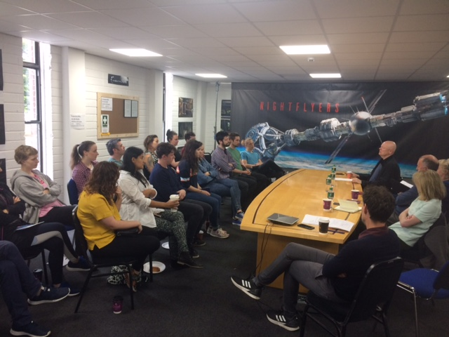 Nightflyers Production Training Scheme trainees at the closing industry event in Troy Studios