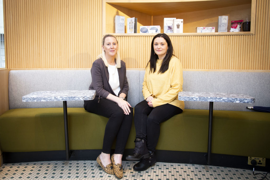 PIctured is Ruth McElhone from Brown Bag Films and Gemma O Shaughnessy Production Manager at the Alex Hotel Dublin. Picture by Karen Morgan