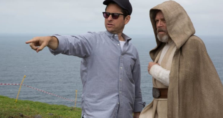 Mark Hamill and JJ Abrams filming on Skellig Michael